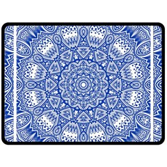 Blue Mandala Kaleidoscope Fleece Blanket (large)  by Celenk