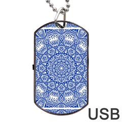 Blue Mandala Kaleidoscope Dog Tag Usb Flash (one Side) by Celenk