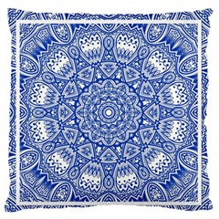 Blue Mandala Kaleidoscope Large Flano Cushion Case (two Sides) by Celenk