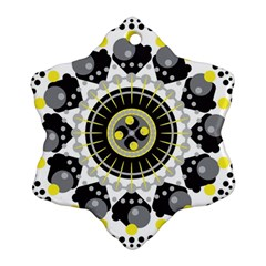 Mandala Geometric Design Pattern Snowflake Ornament (two Sides) by Celenk