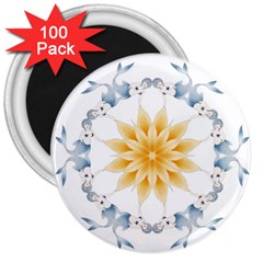 Mandala Mermaid Lake Rose Swimmers 3  Magnets (100 Pack) by Celenk