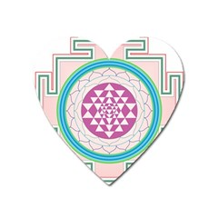 Mandala Design Arts Indian Heart Magnet by Celenk