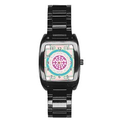 Mandala Design Arts Indian Stainless Steel Barrel Watch