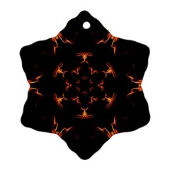 Mandala Fire Mandala Flames Design Snowflake Ornament (two Sides) by Celenk