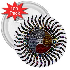 Whole Complete Human Qualities 3  Buttons (100 Pack)  by Celenk