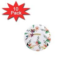 Floral Backdrop Pattern Flower 1  Mini Magnet (10 Pack)  by Celenk