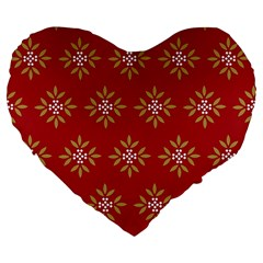 Pattern Background Holiday Large 19  Premium Flano Heart Shape Cushions by Celenk