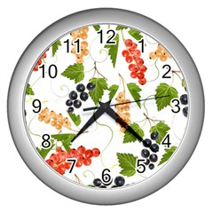 Juicy Currants Wall Clocks (silver)  by TKKdesignsCo
