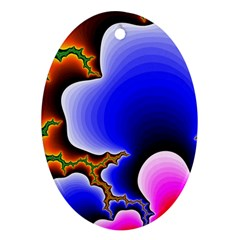 Fractal Background Pattern Color Oval Ornament (two Sides) by Celenk