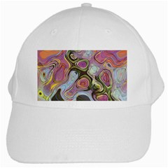 Retro Background Colorful Hippie White Cap by Celenk