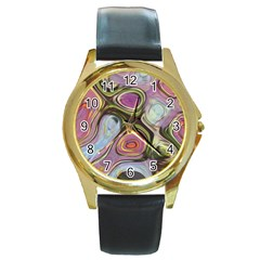 Retro Background Colorful Hippie Round Gold Metal Watch by Celenk