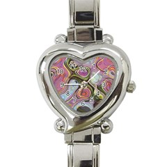 Retro Background Colorful Hippie Heart Italian Charm Watch by Celenk