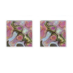Retro Background Colorful Hippie Cufflinks (square) by Celenk