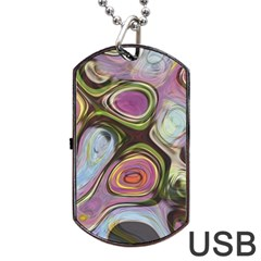 Retro Background Colorful Hippie Dog Tag Usb Flash (one Side) by Celenk