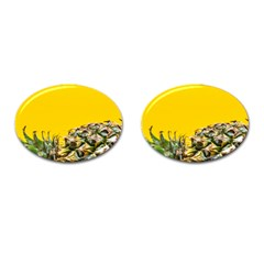 Pineapple Raw Sweet Tropical Food Cufflinks (oval) by Celenk