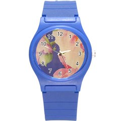 Fabric Textile Abstract Pattern Round Plastic Sport Watch (s) by Celenk