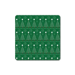 Christmas Tree Holiday Star Square Magnet by Celenk