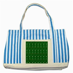 Christmas Tree Holiday Star Striped Blue Tote Bag by Celenk