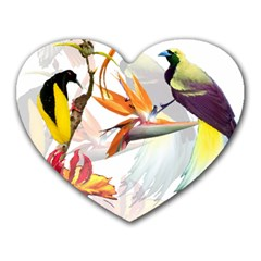 Birds Of Paradise Heart Mousepads by TKKdesignsCo