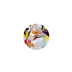 Exotic Birds Of Paradise And Flowers Watercolor 1  Mini Buttons by TKKdesignsCo
