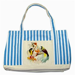 Exotic Birds Of Paradise And Flowers Watercolor Striped Blue Tote Bag by TKKdesignsCo