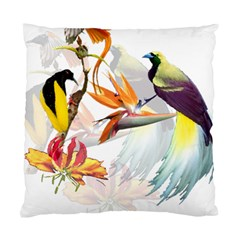 Exotic Birds Of Paradise And Flowers Watercolor Standard Cushion Case (two Sides) by TKKdesignsCo