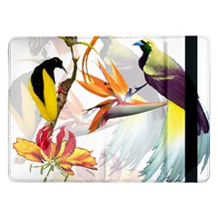 Exotic Birds Of Paradise And Flowers Watercolor Samsung Galaxy Tab Pro 12 2  Flip Case by TKKdesignsCo