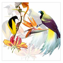 Exotic Birds Of Paradise And Flowers Watercolor Large Satin Scarf (square) by TKKdesignsCo