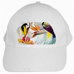 Exotic Birds Of Paradise And Flowers Watercolor White Cap by TKKdesignsCo