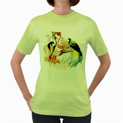 Exotic Birds Of Paradise And Flowers Watercolor Women s Green T Shirt by TKKdesignsCo