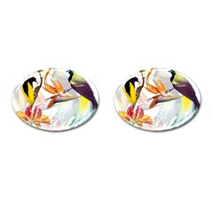 Exotic Birds Of Paradise And Flowers Watercolor Cufflinks (oval) by TKKdesignsCo