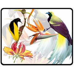 Exotic Birds Of Paradise And Flowers Watercolor Double Sided Fleece Blanket (medium)  by TKKdesignsCo