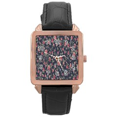 Pattern Flowers Pattern Flowers Rose Gold Leather Watch  by Celenk