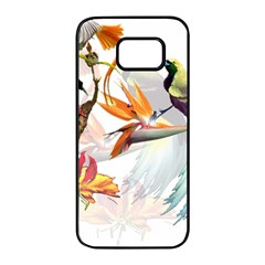 Exotic Birds Of Paradise And Flowers Watercolor Samsung Galaxy S7 Edge Black Seamless Case by TKKdesignsCo