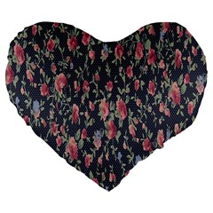 Pattern Flowers Pattern Flowers Large 19  Premium Flano Heart Shape Cushions by Celenk