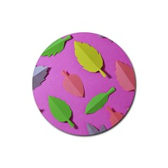Leaves Autumn Nature Trees Rubber Coaster (round)  by Celenk