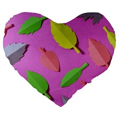 Leaves Autumn Nature Trees Large 19  Premium Flano Heart Shape Cushions by Celenk