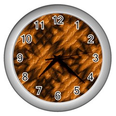 Background Texture Pattern Wall Clocks (silver)  by Celenk