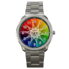 Abstract Star Pattern Structure Sport Metal Watch by Celenk