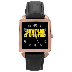 Psycho  Rose Gold Leather Watch  by Valentinaart