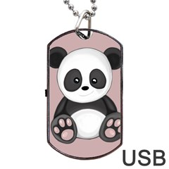 Cute Panda Dog Tag Usb Flash (two Sides) by Valentinaart
