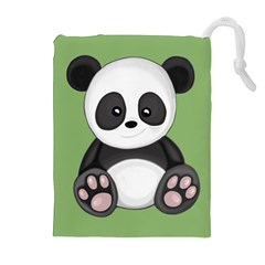 Cute Panda Drawstring Pouches (extra Large) by Valentinaart
