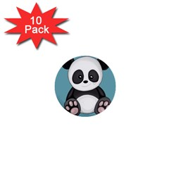 Cute Panda 1  Mini Buttons (10 Pack)  by Valentinaart