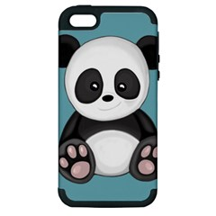 Cute Panda Apple Iphone 5 Hardshell Case (pc+silicone) by Valentinaart