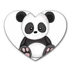 Cute Panda Heart Mousepads by Valentinaart