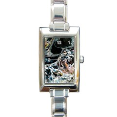Abstract Flow River Black Rectangle Italian Charm Watch by Celenk