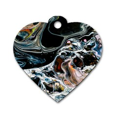 Abstract Flow River Black Dog Tag Heart (one Side) by Celenk