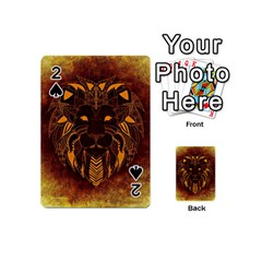 Lion Wild Animal Abstract Playing Cards 54 (mini)  by Celenk