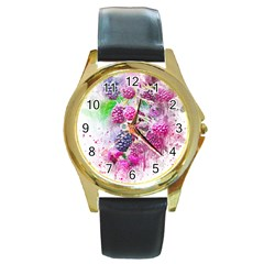 Blackberry Fruit Art Abstract Round Gold Metal Watch by Celenk