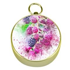 Blackberry Fruit Art Abstract Gold Compasses by Celenk